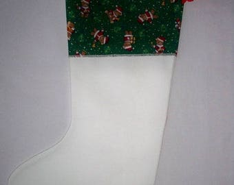 Fabric white and green Christmas boot