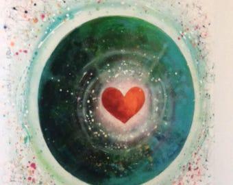 Modern heart Mandala painting