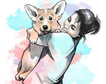 Custom Pet Portraits, Custom Portrait, Painting From Photo, Digital Painting, Custom Art, Dog Portrait, Cat Portrait, Watercolor Portrait