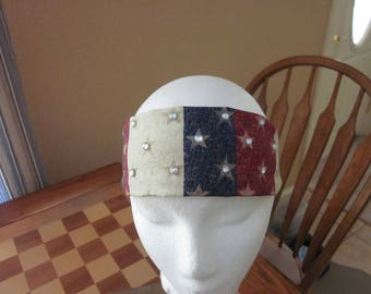 Red White and Blue Headband with Rhinestones