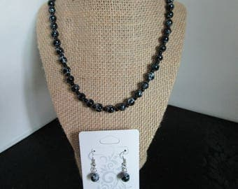 Black & White PearlNecklace/ Earrings set