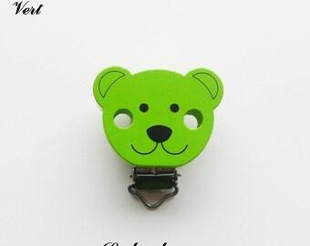 Clip / bow, wooden pacifier Clip, Teddy bear: Green