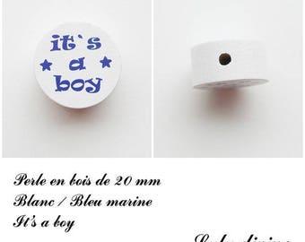 Wooden bead of 20 mm, flat bead, It's a boy: White / Navy Blue