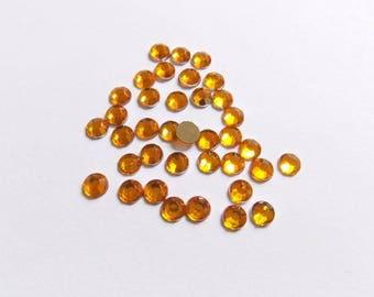 100 half rhinestone paste yellow 4mm