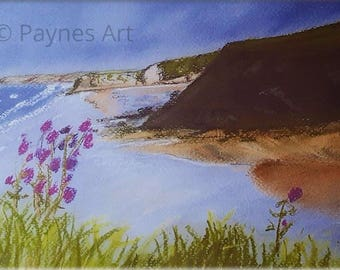 Broadhaven South Pembrokeshire Giclee Pastel Print Beach Landscape Sea Summer Wall Art Painting Present Gift Wales Seascape Christmas Gift