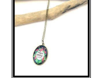 "Necklace ""Peace, Love & Mojito"" Original cabochon, cameo, camay, humor, cocktail, tropical, Flamingo"