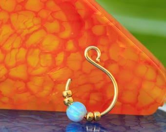 Nose Ring /  open nose ring  / gold nose ring  / snug nose hoop / 20g open nose ring / fake nose ring / opal nose ring / open nose piercing