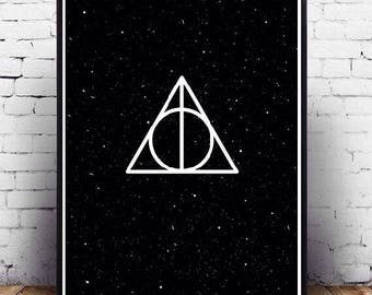 Harry Potter wall art printable poster, Harry Potter fanart wall decor of deathly hallows symbol, Starry Deathly Hallows, iPhone Backround