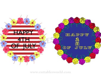 July 4th Floral Wreath  SVG PNG DXF pdf eps and jpg format Independence Day Clipart