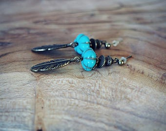 Ethnic EUBLI earrings ♦ ♦, feather