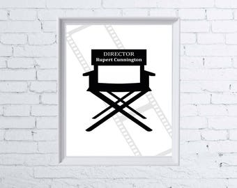 A4 Personalised Print | Directors Chair | Movie | Films/DVD | Birthday Print | FREE P&P | FAM1