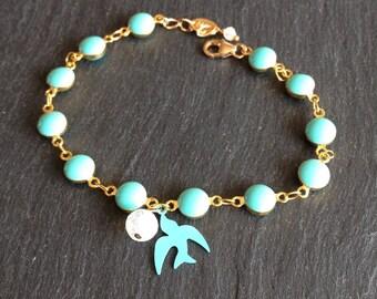 Bracelet Bohemian turquoise Moonstone and turquoise enameled metal swallow bird