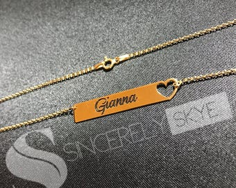 Engrave Bar Necklace With Heart