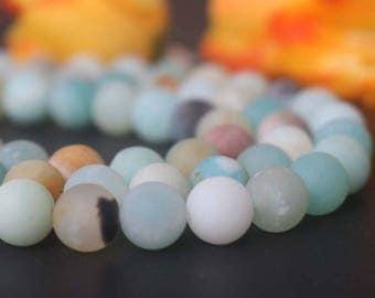 """Natural AA Genuine Matte Amazonite Round Beads,4mm 6mm 8mm 10mm 12mm Matte Amazonite Beads,Amazonite beads supply.15"""" strand"""