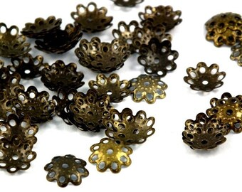 ♥ 15 PCs caps: antique bronze 10mm ♥