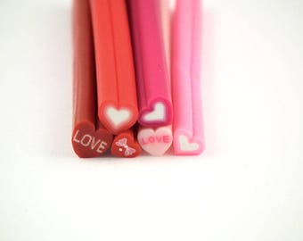 ♥ canes 6 PCs heart love 5mm polymer clay ♥