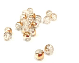 ❤ X 10 glass beads Crackle bicolor 6mm rose gold transparent ❤