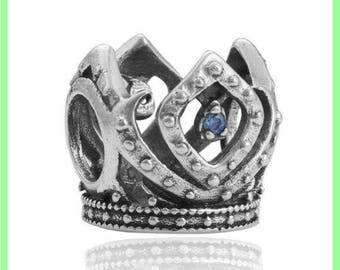 Crown N338 rhinestone European bead for bracelet necklace charms
