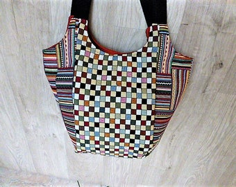 Plaid and stripes fabric bag