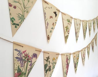 Botanical Bunting of Spring & Summer Flower illustrations. Floral Garland for Wedding decor. Vintage paper banner with rustic twine for home