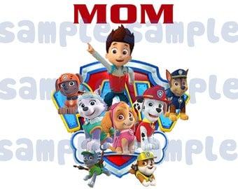 Mom Paw Patrol Iron On Transfer,Paw Patrol Boys Birthday Shirt, Paw Patrol High Resolution  Iron On ,INSTANT DOWNLOAD, Digital File