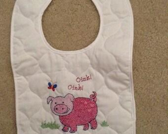 Little piggy baby bib