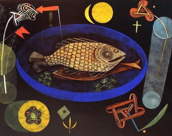 ORIGINAL design, durable and WASHABLE PLACEMAT - PaulKlee - around the fish - classic.
