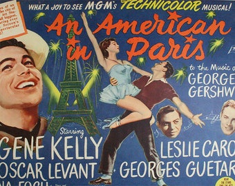 SET of VINTAGE TABLE - Movie poster - an American in Paris with Gene Kelly.
