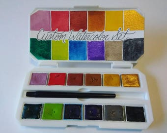 Custom 12 Watercolor Set Handmade Watercolor Palette