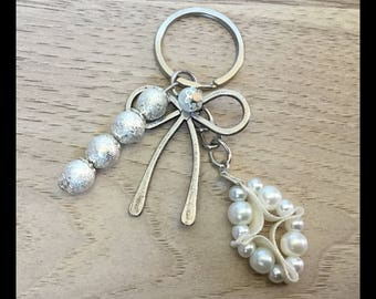 Satin glass beads and stardust beads - keychain