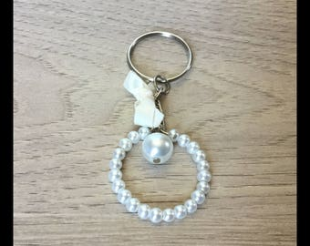 Keychain satin and glass beads