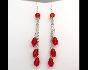 Earrings «Ruby drops.