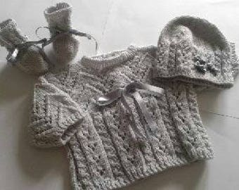 Jacket, bonnet and booties - baby set - newborn-1 month