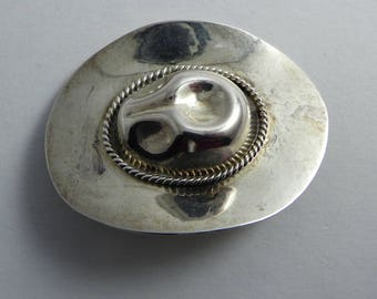 Vintage Cowboy Hat Brooch, Sterling Silver, Stetson Silver Pin,Hat Pin, Mexico 925, Country Western