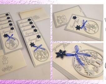 Card greeting - happy holidays - set of 10 cards + envelopes