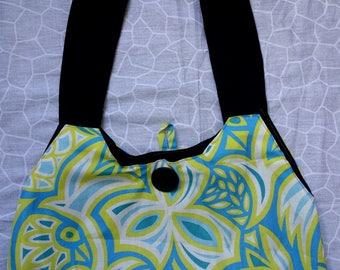 Handbag fabric design of birds designer blue and yellow closing button