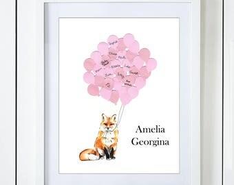 Pink Fox Baby Shower Guest Book Alternative