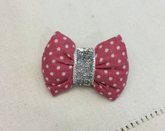 BROOCH with bow pink with white dots