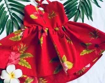 Red tropical hawaiian dress