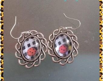 rockabilly silver Ladybug earrings