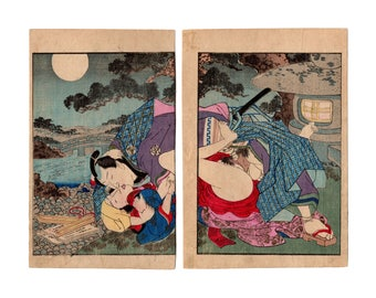 The night watchman (Unknown author) N.1 diptych of shunga woodblock prints