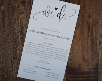 Beautiful Wedding Program, We Do Wedding Program, Elegant Wedding Program, Chic Wedding Program, Classy Wedding Program, Elegant Ceremony
