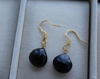 """grounding stone"" stamped with onyx drop earrings gold plated"