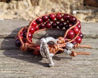 Red Double Wrap Beaded Bracelet