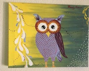 "Purple Owl Original Acrylic 11"" x 14"""