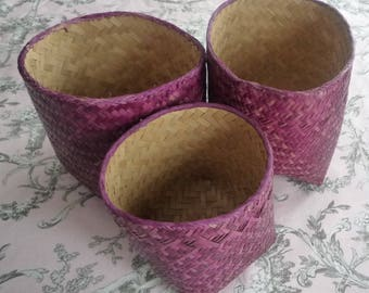 Set of 3 small purple dyed nesting baskets
