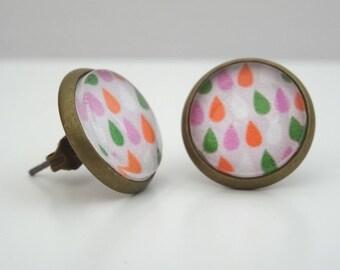 Drop cabochon earrings Stud pattern Orange, green and pink