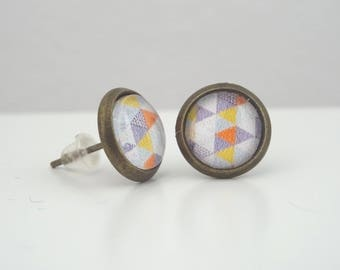 Earrings cabochon mini pastel triangles chips