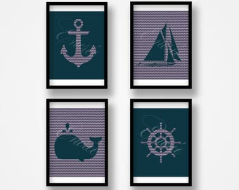 Digital prints: anchor, boat, whale and helm