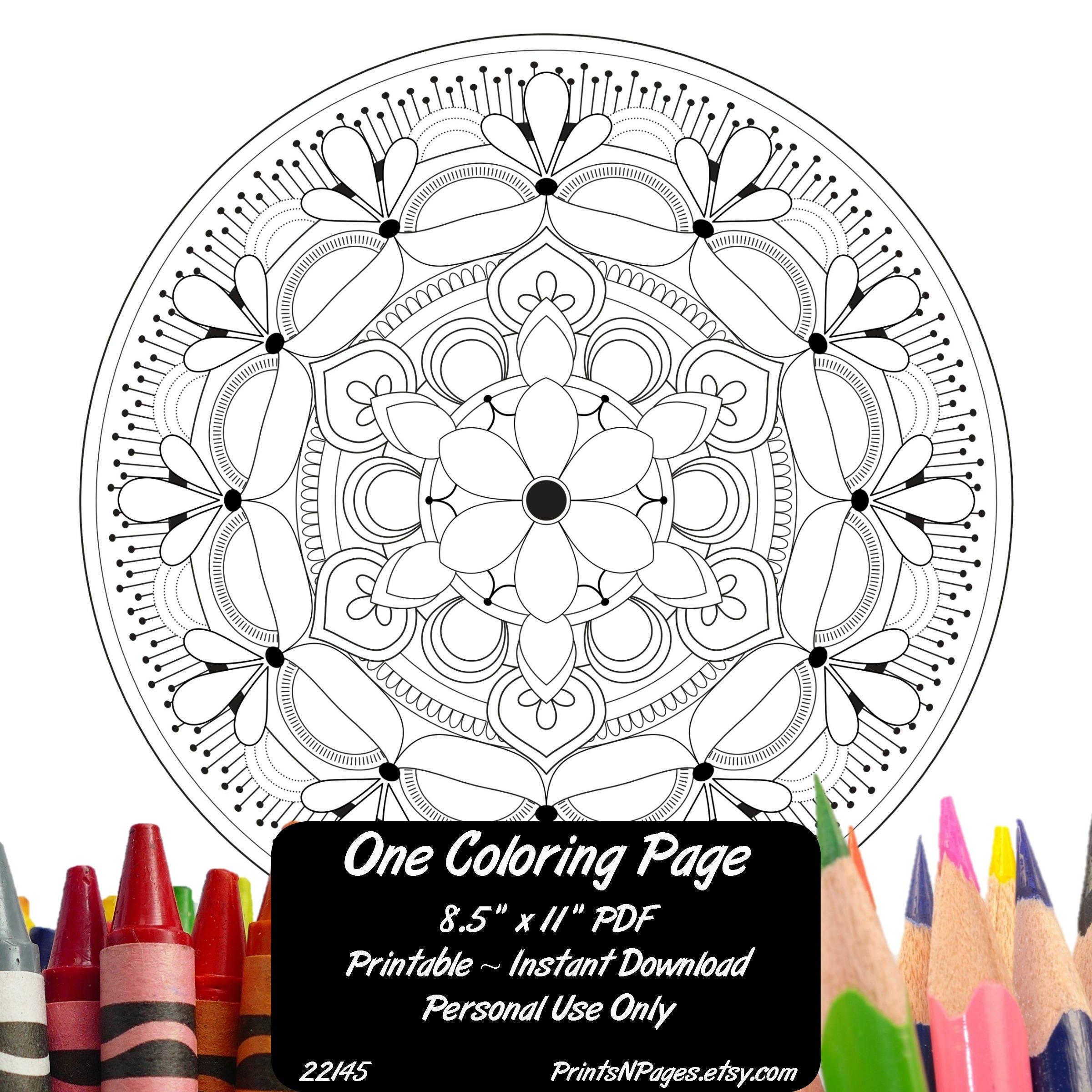 Coloring Book Wall Art : Adult Coloring Page Mandala Design 22145 Wall Art